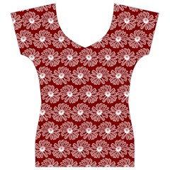 Gerbera Daisy Vector Tile Pattern Women s V-Neck Cap Sleeve Top