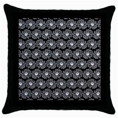 Black And White Gerbera Daisy Vector Tile Pattern Throw Pillow Cases (black)