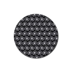 Black And White Gerbera Daisy Vector Tile Pattern Rubber Round Coaster (4 Pack)