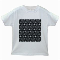Black And White Gerbera Daisy Vector Tile Pattern Kids White T-Shirts