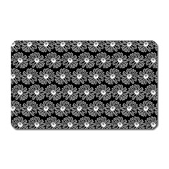 Black And White Gerbera Daisy Vector Tile Pattern Magnet (rectangular)