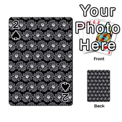 Black And White Gerbera Daisy Vector Tile Pattern Playing Cards 54 Designs