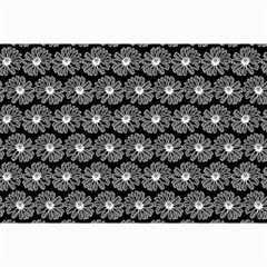 Black And White Gerbera Daisy Vector Tile Pattern Collage 12  x 18