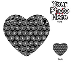 Black And White Gerbera Daisy Vector Tile Pattern Playing Cards 54 (heart)