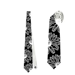 Black And White Gerbera Daisy Vector Tile Pattern Neckties (Two Side)