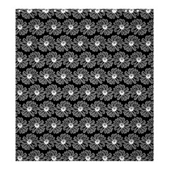 Black And White Gerbera Daisy Vector Tile Pattern Shower Curtain 66  x 72  (Large)