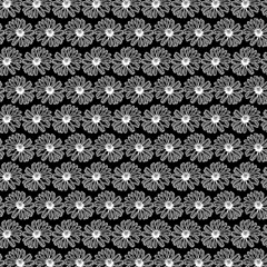 Black And White Gerbera Daisy Vector Tile Pattern Magic Photo Cubes