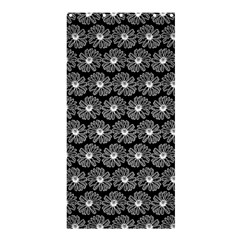 Black And White Gerbera Daisy Vector Tile Pattern Shower Curtain 36  x 72  (Stall)