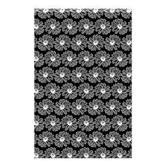 Black And White Gerbera Daisy Vector Tile Pattern Shower Curtain 48  X 72  (small)