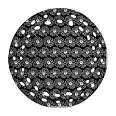 Black And White Gerbera Daisy Vector Tile Pattern Ornament (Round Filigree)
