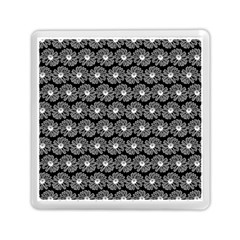 Black And White Gerbera Daisy Vector Tile Pattern Memory Card Reader (Square)