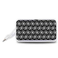 Black And White Gerbera Daisy Vector Tile Pattern Portable Speaker (White)