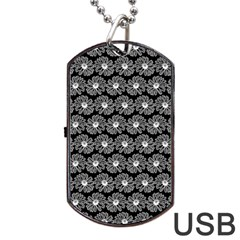 Black And White Gerbera Daisy Vector Tile Pattern Dog Tag USB Flash (One Side)