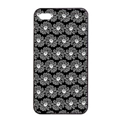 Black And White Gerbera Daisy Vector Tile Pattern Apple iPhone 4/4s Seamless Case (Black)