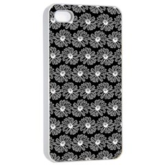 Black And White Gerbera Daisy Vector Tile Pattern Apple Iphone 4/4s Seamless Case (white)