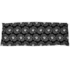 Black And White Gerbera Daisy Vector Tile Pattern Body Pillow Cases (Dakimakura)