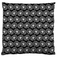 Black And White Gerbera Daisy Vector Tile Pattern Large Cushion Cases (one Side)