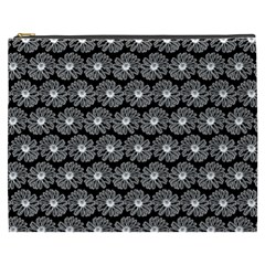Black And White Gerbera Daisy Vector Tile Pattern Cosmetic Bag (xxxl)