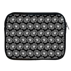 Black And White Gerbera Daisy Vector Tile Pattern Apple Ipad 2/3/4 Zipper Cases