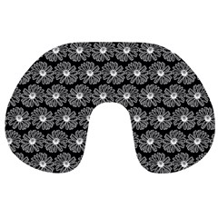 Black And White Gerbera Daisy Vector Tile Pattern Travel Neck Pillows
