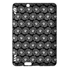 Black And White Gerbera Daisy Vector Tile Pattern Kindle Fire Hdx Hardshell Case