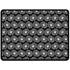 Black And White Gerbera Daisy Vector Tile Pattern Double Sided Fleece Blanket (large)