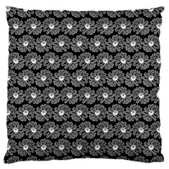 Black And White Gerbera Daisy Vector Tile Pattern Standard Flano Cushion Cases (One Side)