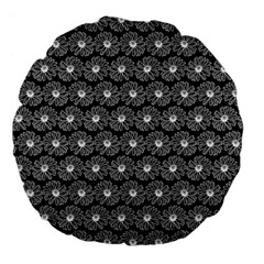 Black And White Gerbera Daisy Vector Tile Pattern Large 18  Premium Flano Round Cushions