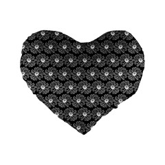 Black And White Gerbera Daisy Vector Tile Pattern Standard 16  Premium Flano Heart Shape Cushions