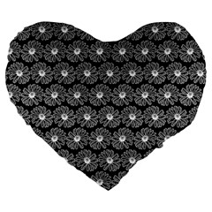 Black And White Gerbera Daisy Vector Tile Pattern Large 19  Premium Flano Heart Shape Cushions