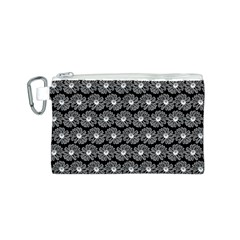 Black And White Gerbera Daisy Vector Tile Pattern Canvas Cosmetic Bag (s)