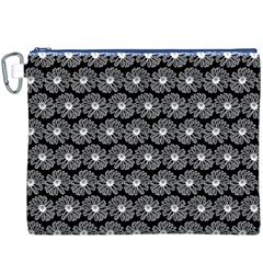Black And White Gerbera Daisy Vector Tile Pattern Canvas Cosmetic Bag (xxxl)