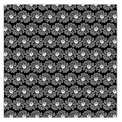 Black And White Gerbera Daisy Vector Tile Pattern Large Satin Scarf (Square)