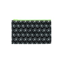 Black And White Gerbera Daisy Vector Tile Pattern Cosmetic Bag (XS)