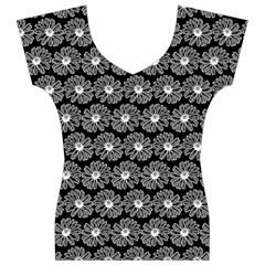 Black And White Gerbera Daisy Vector Tile Pattern Women s V-Neck Cap Sleeve Top