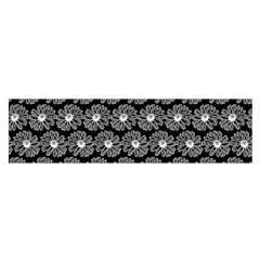 Black And White Gerbera Daisy Vector Tile Pattern Satin Scarf (Oblong)