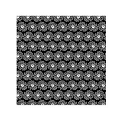 Black And White Gerbera Daisy Vector Tile Pattern Small Satin Scarf (square)