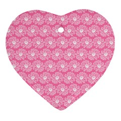 Pink Gerbera Daisy Vector Tile Pattern Ornament (heart)