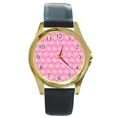 Pink Gerbera Daisy Vector Tile Pattern Round Gold Metal Watches