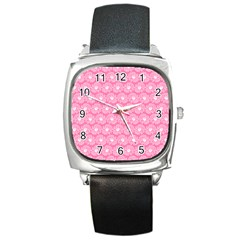 Pink Gerbera Daisy Vector Tile Pattern Square Metal Watches