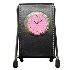 Pink Gerbera Daisy Vector Tile Pattern Pen Holder Desk Clocks