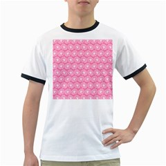 Pink Gerbera Daisy Vector Tile Pattern Ringer T Shirts
