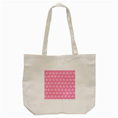 Pink Gerbera Daisy Vector Tile Pattern Tote Bag (Cream)