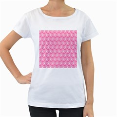 Pink Gerbera Daisy Vector Tile Pattern Women s Loose Fit T Shirt (white)