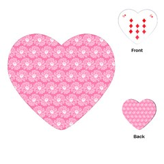 Pink Gerbera Daisy Vector Tile Pattern Playing Cards (Heart)