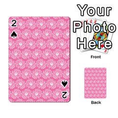 Pink Gerbera Daisy Vector Tile Pattern Playing Cards 54 Designs