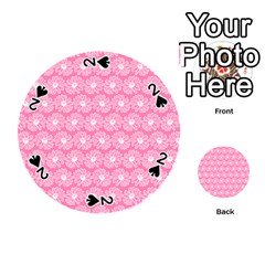 Pink Gerbera Daisy Vector Tile Pattern Playing Cards 54 (Round)