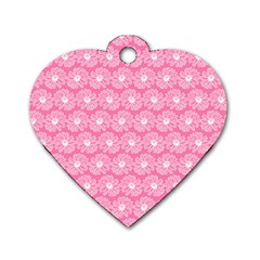 Pink Gerbera Daisy Vector Tile Pattern Dog Tag Heart (two Sides)