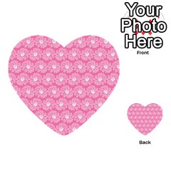 Pink Gerbera Daisy Vector Tile Pattern Multi Purpose Cards (heart)
