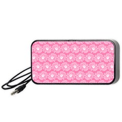 Pink Gerbera Daisy Vector Tile Pattern Portable Speaker (Black)
